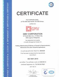 GMV Corp ISO Cert10092017